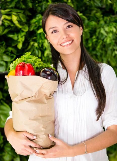 Woman buying fresh food