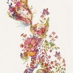 Japanese Artist Depicts Cats, Dogs, And Other Animals Using Watercolor Flower Arrangements (30 Pics) Interview With Artist