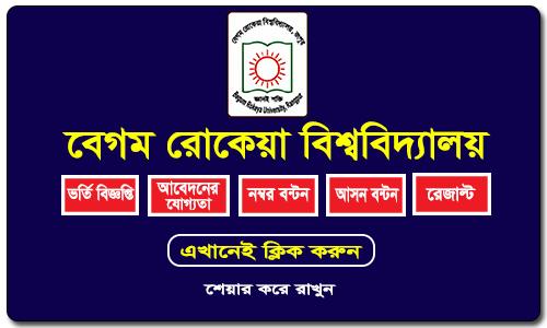 Begum Rokeya University Admission Circular 2017-18