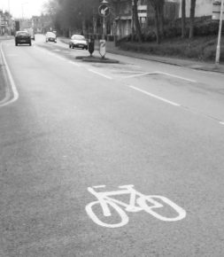 painted cycles on road