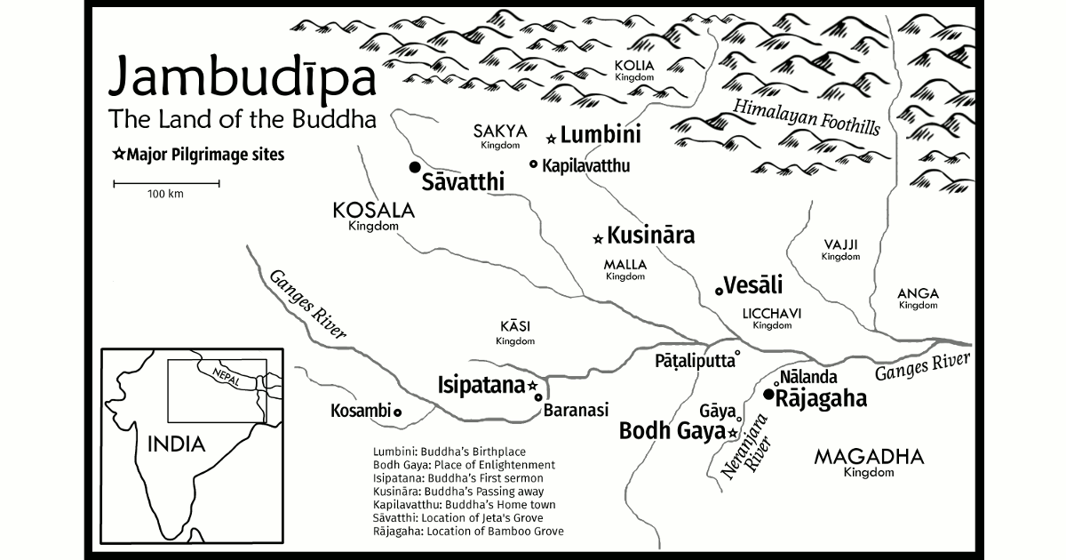 Map of the Buddha's ancient India