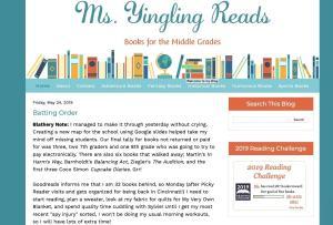 ms. yingling reads top kid lit blog homepage screenshot