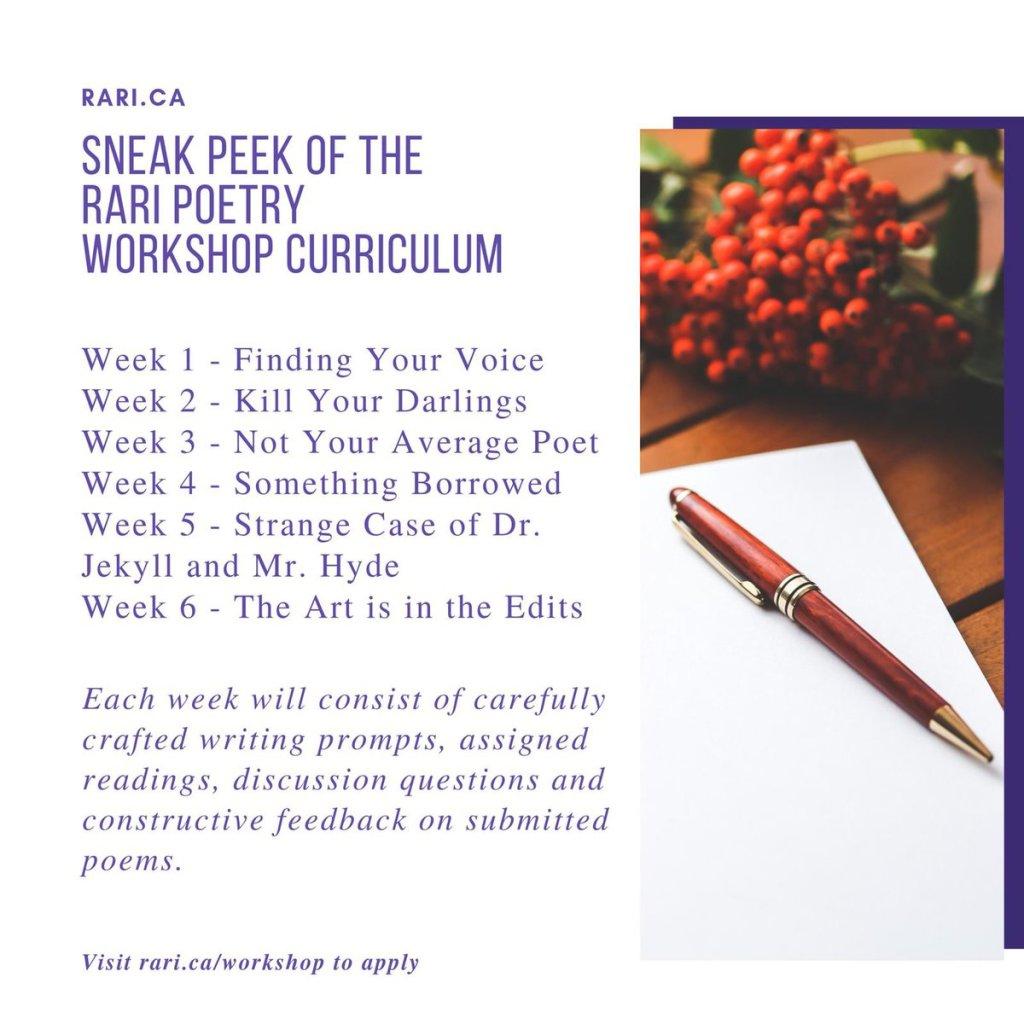 Rari Free Poetry Workshop - poetry workshop curriculum
