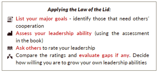 The 21 Irrefutable Laws of Leadership summary_#1 Law of the Lid_application