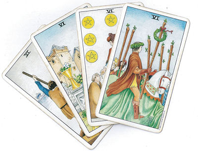 rider-waite tarot six cards
