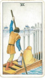 rider-waite tarot six swords card