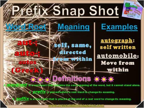 aut-, auto- Prefix Snap Shot