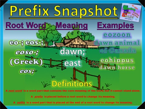 eo-, eos-, eoso- Prefix Snapshot