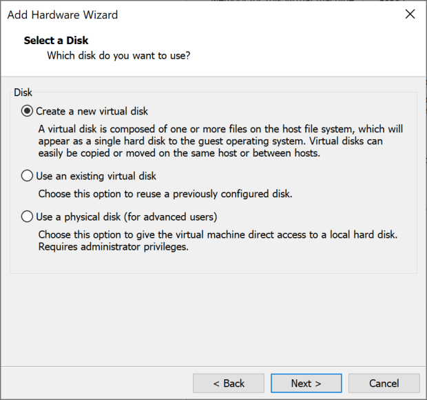 Select the nature of the disk