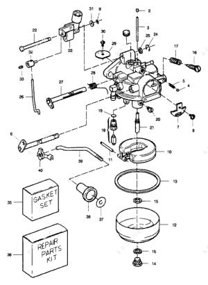 Sears 99 HP 1989, Carburetor 99 Hp  parts catalog