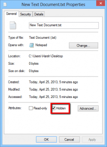Hide files in Windows