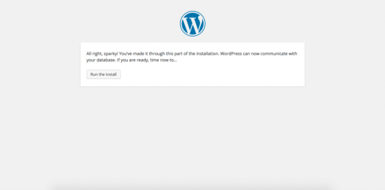successfully installed wordpress