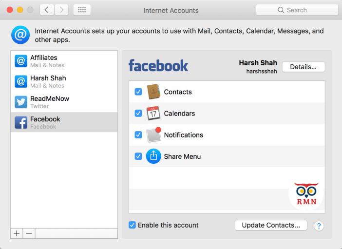 Facebook Options macOS Sierra