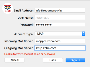 Apple mail settings Zoho Mail