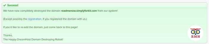 Delete Subdomain Success Message