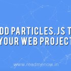 Add particles.js to your Web Project