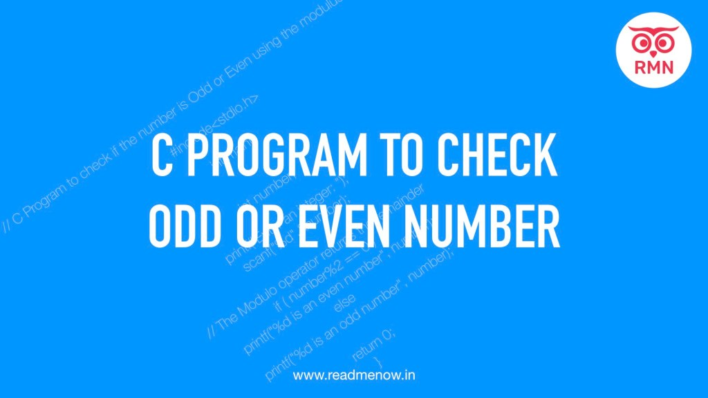 C porgram to check odd or even number