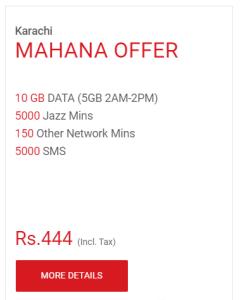Jazz Karachi Mahana Offer