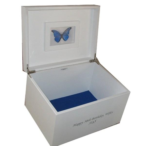 Personalised White XL Keepsake or Memory Box for boys or ...