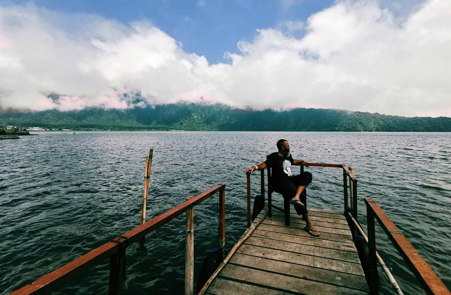 Faraz Fookeer Lake Danau beratan man wondering