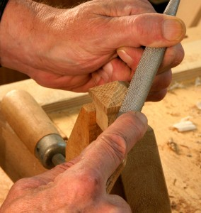 Shape the top of the pull with a rasp