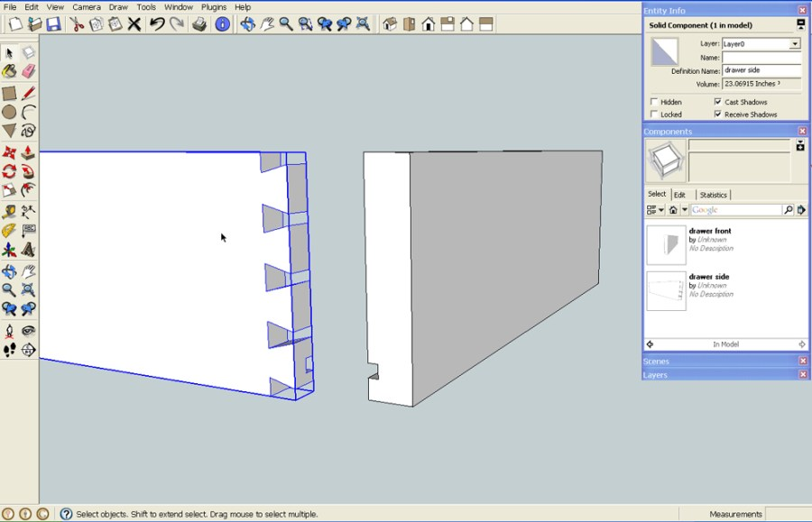 solid components in SketchUp Pro