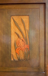Iris Carved Panel from Byrdcliffe Desk