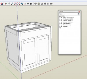 The outliner window in SketchUp shows you the names of the components in the model