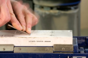 practice laying the primary bevel flat on the stone