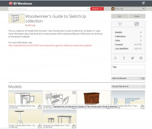 "3D Warehouse collection from ""New Woodworker's Guide to SketchUp"""