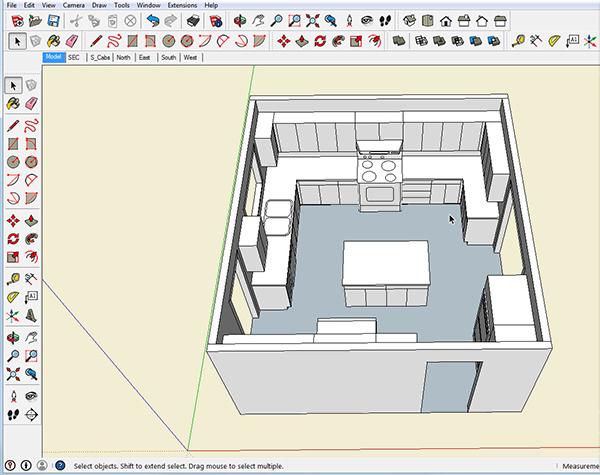 Sketchup for cabinet shop project for Sketchup kitchen design