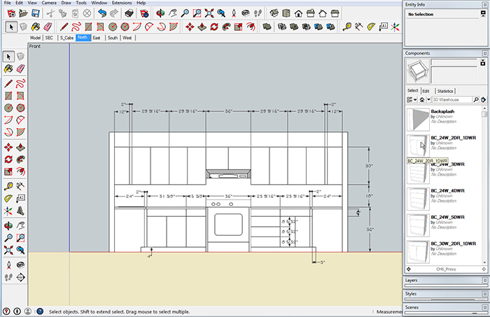 Cabinet sketchup model Kitchen design software google sketchup