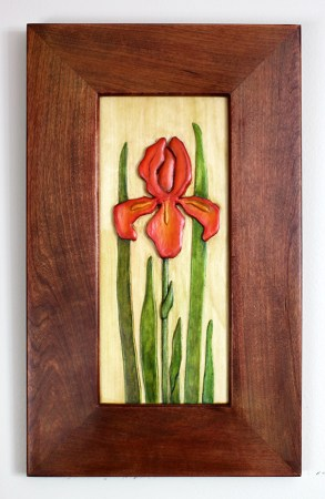 Byrdcliffe Iris carving by Robert W. Lang