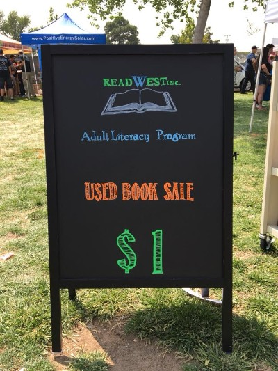 ReadWest Used Book Sale Chalk Sign