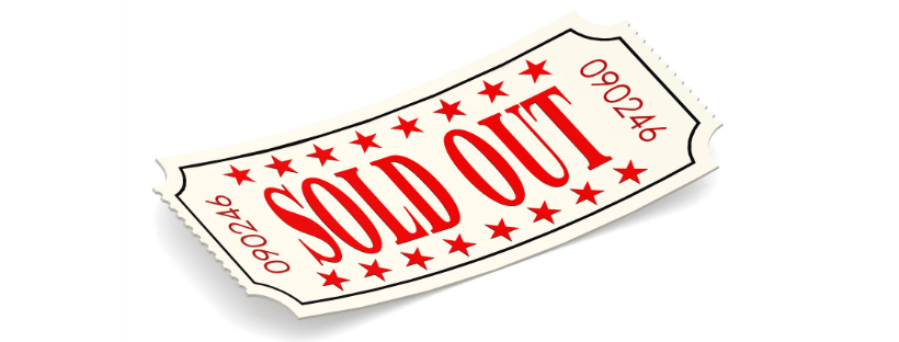 Ticket with words sold out