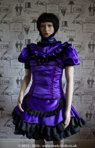 Candy Cupcake Corseted Sissy (Purple & Black) Satin Dress 1