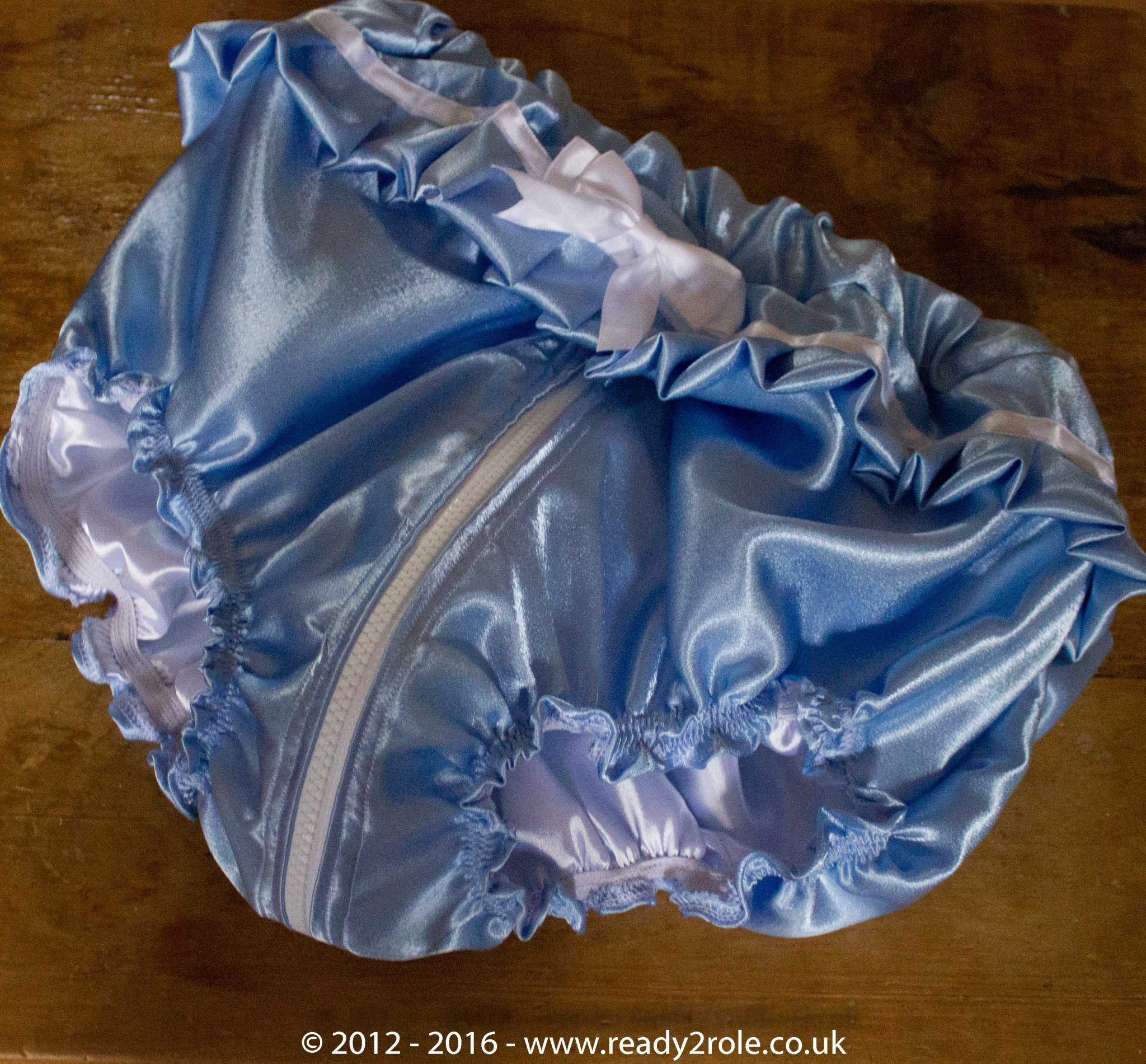 Sissy Frilly Satin Panties with Zip Thru Crotch – Baby Blue Satin
