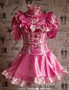Candy Cupcake Corseted Sissy Satin Dress 4