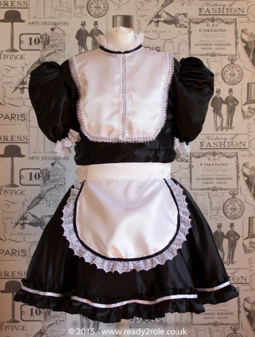 """""""Betty"""" French Maid Dress in Satin With Removable Half Apron 1"""