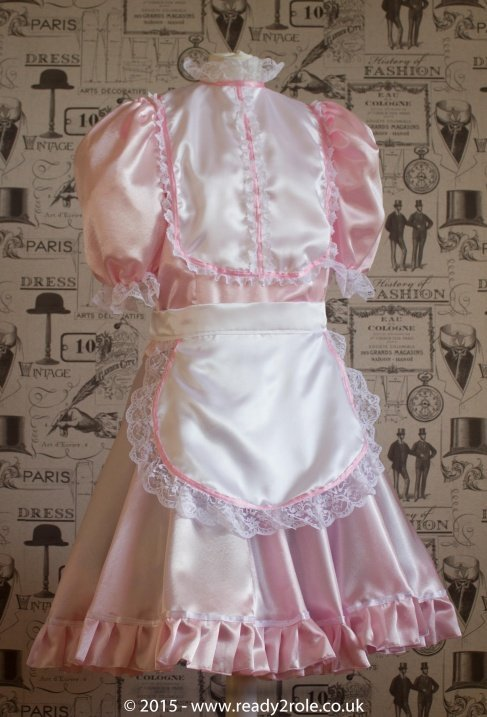 """Betty"" French Maid Dress in Pink Satin With Removable Half Apron"