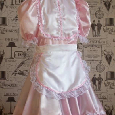 """Betty"" French Maid Dress in Pink Satin With Removable Half Apron 1"
