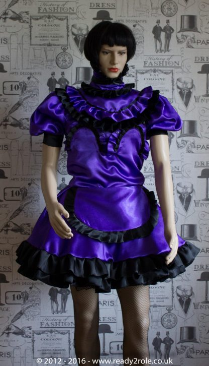 Candy Cupcake Corseted Sissy (Purple & Black) Satin Dress 3