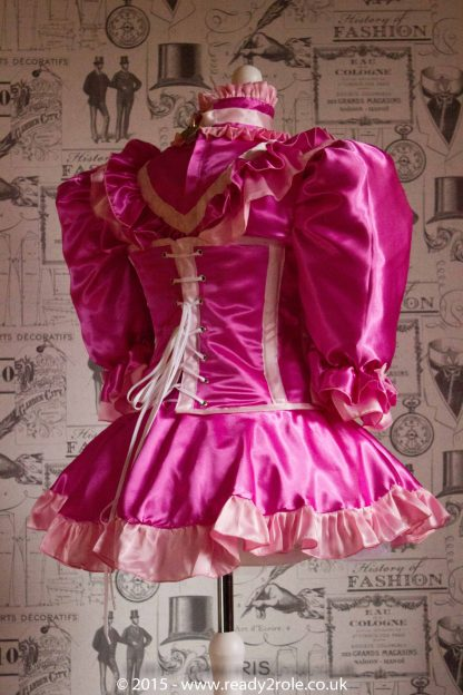 """The Candy Cupcake Corseted Sissy Dress in Satin with """"Bow Peek"""" Front 4"""