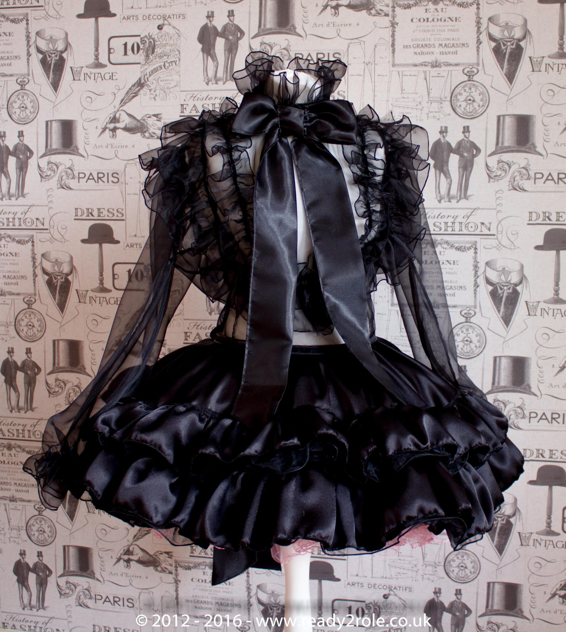 The Dee Bowie – Satin & Organza Dress With Bows & Ruffles – Ask About Colours