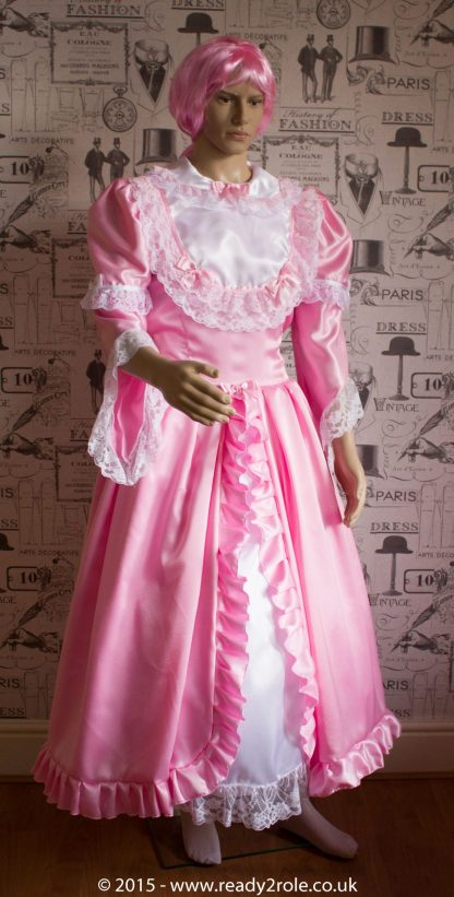 Princess Belle – Sissy Full Length Satin & Lace Dress – Ask About Colour Choices 1