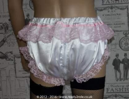 Sissy Frilly Satin Panties with Zip Thru Crotch 2