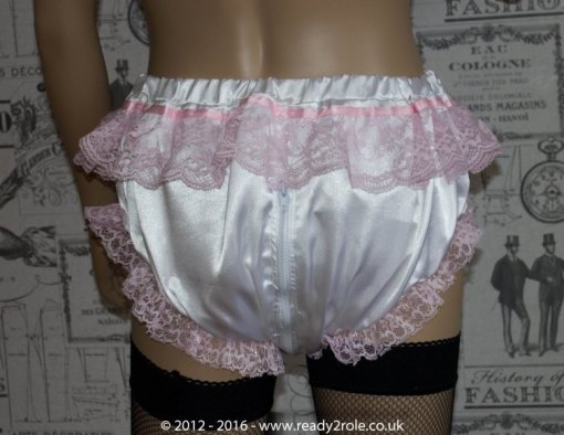 Sissy Frilly Satin Panties with Zip Thru Crotch 2