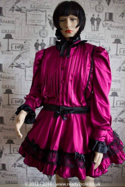 Victoria – Sissy Satin Long Sleeved Dress – Burgundy Version (Ask About Colour Choices) 1