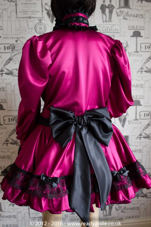 Victoria – Sissy Satin Long Sleeved Dress – Burgundy Version (Ask About Colour Choices) 4
