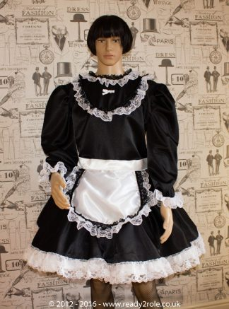 """Starre"" French Maid Sissy Dress in Black Satin With Removable Half Apron 1"